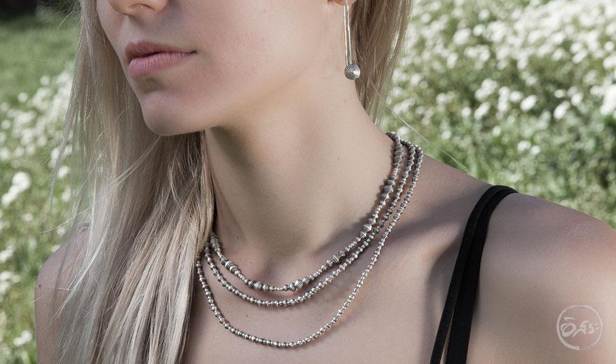 colliers ras du cou avec perles en argent massif fait main