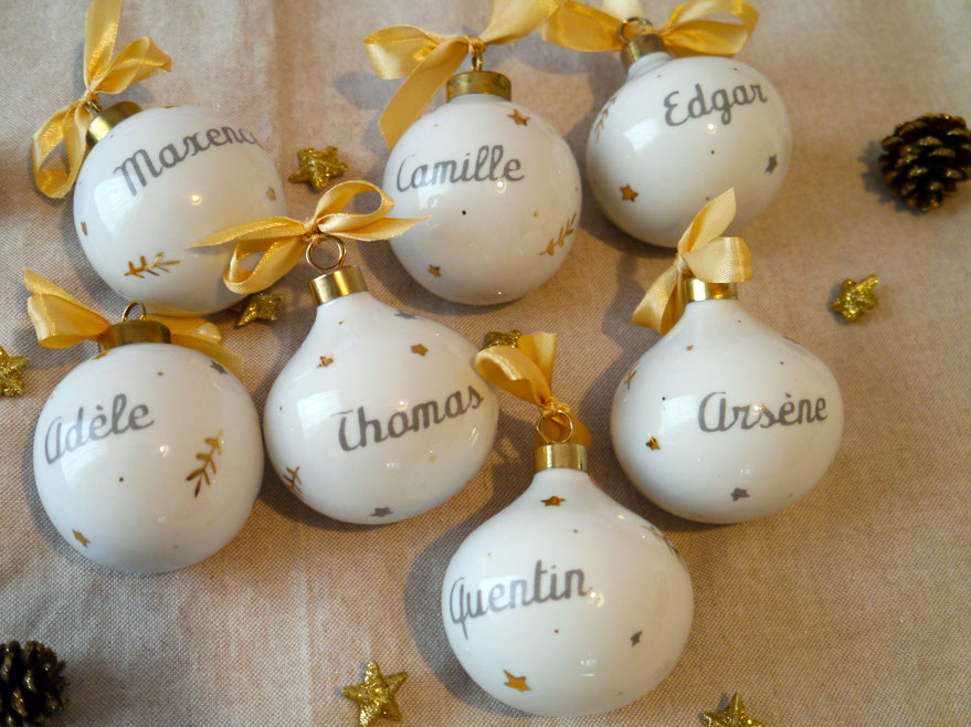 boules de noël personnalisées en porcelaine