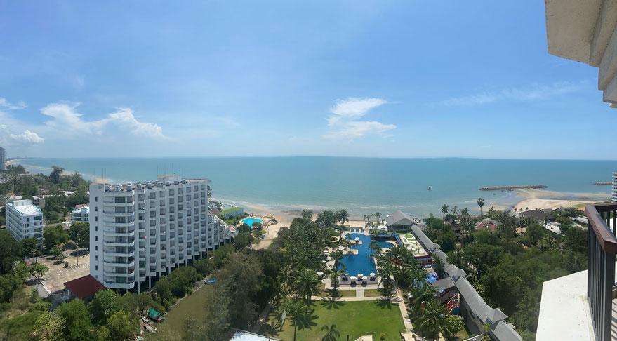 Die Aussicht auf das Meer in Hua Hin