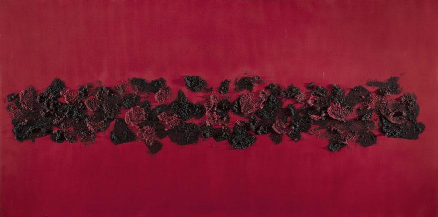 Merletto andaluso rosso/nero .Acrilico e sablè su tela120x60..2013  Collezione privata