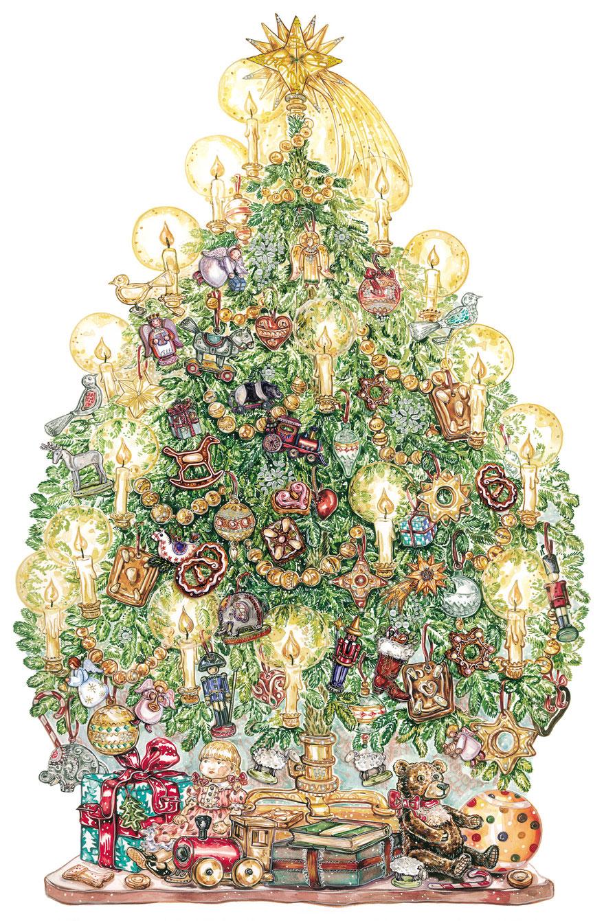 Großer Weihnachtsbaum Illustration Caroline Ronnefeldt