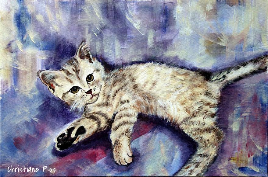 gemaltes Bild Katze © Christiane Ros