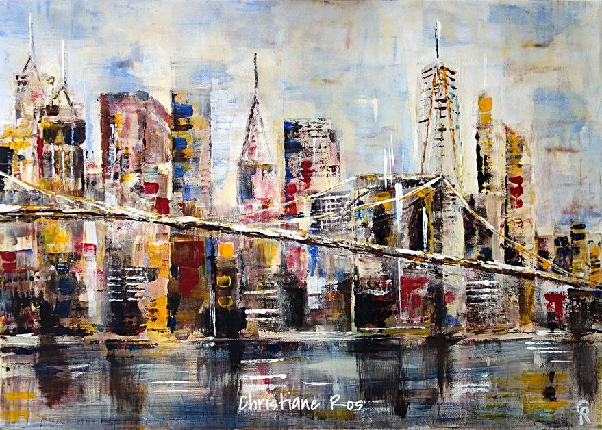 gemaltes Bild Brooklyn Bridge mit der Skyline von Lower Manhattan © Christiane Ros