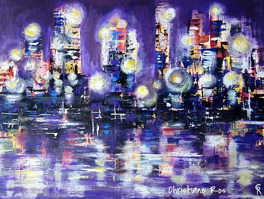 gemaltes Bild Fantasy Skyline © Christiane Ros