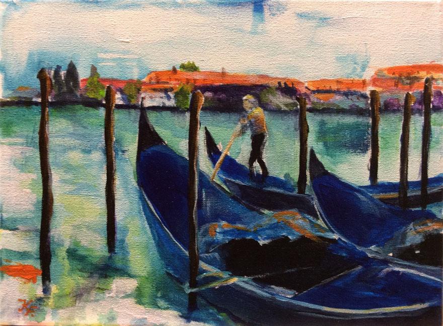 © Klaudia Frieda |  Enge Gassen und weite Plätze, unzählige Brücken, verträumte Hinterhöfe und – nicht zu vergessen – die Gondolieren: Das alles und noch viel mehr ist Venedig…  Acryl auf Leinwand, 24 x 18 cm