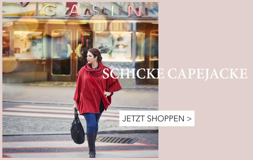 rote Capejacke für dicke Frauen