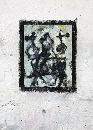 Martin Mohr  Gemeinsam nicht zusammen  Acryl, Lack und Öl auf Baumwolle  150 x 120 cm