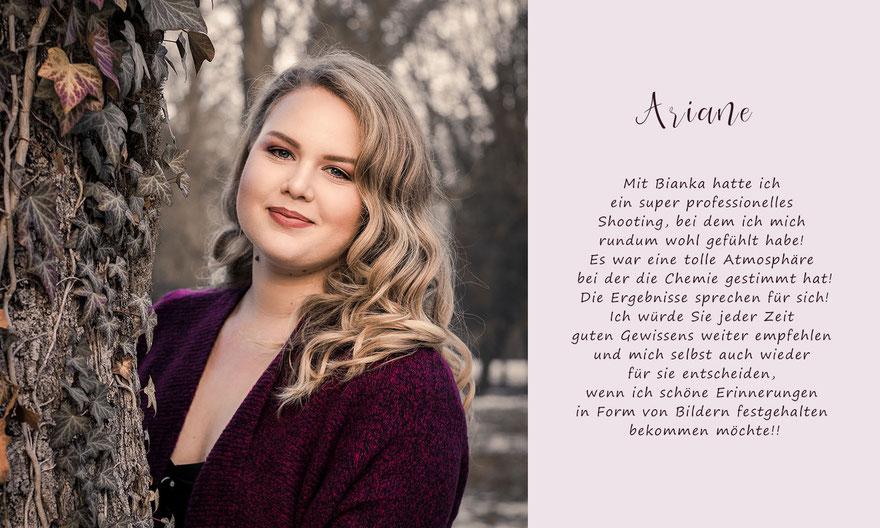 Kundenbewertung von Ariane zu ihrem Portraitshooting