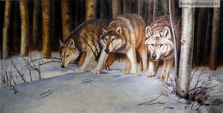 peintre-animalier-loups-peinture