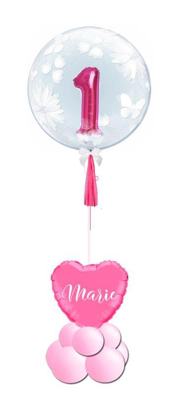Bubble Luftballon Ballon Geburt Baby Geschenk Überraschung süß elegant Herz personalisiert mit Namen Mädchen Junge 1. Geburstag