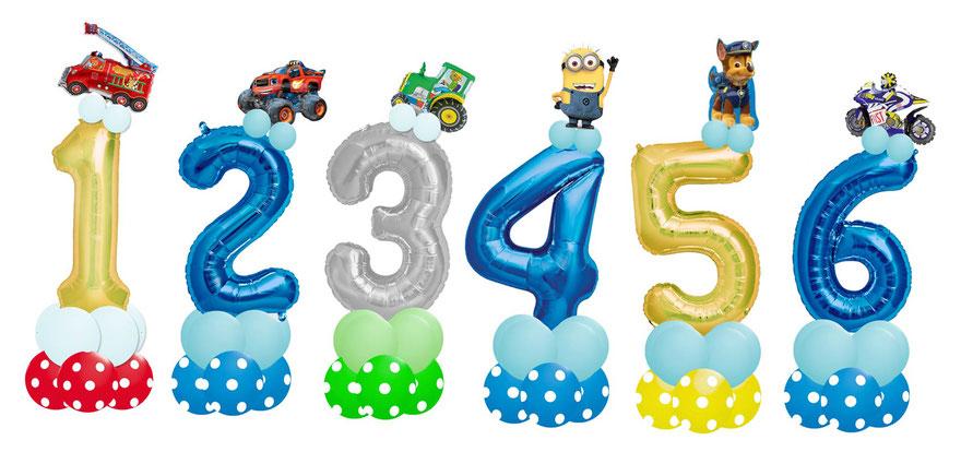 Luftballon Ballon Folienballon Zahl Kindergeburtstag Kinder Junge Feuerwehr Monster Truck Traktor Minion Chase Paw Patrol Motorrad  Kleinkind Party 456789 Ballonzahl Folienzahl Geburtstag Deko Dekoration Versand Personalisierung mit Namen Ballonpost 123