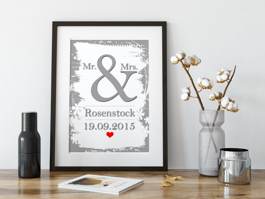 Druck Mr. & Mrs. Hochzeitsbild Wohndeko Geschenk Hochzeit