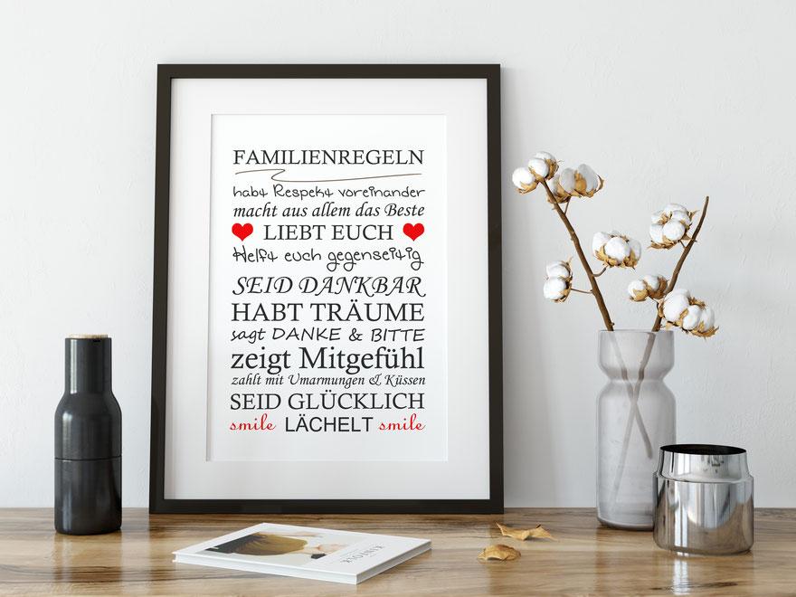 Wohnen Wanddeko Kunstdruck Familienregeln