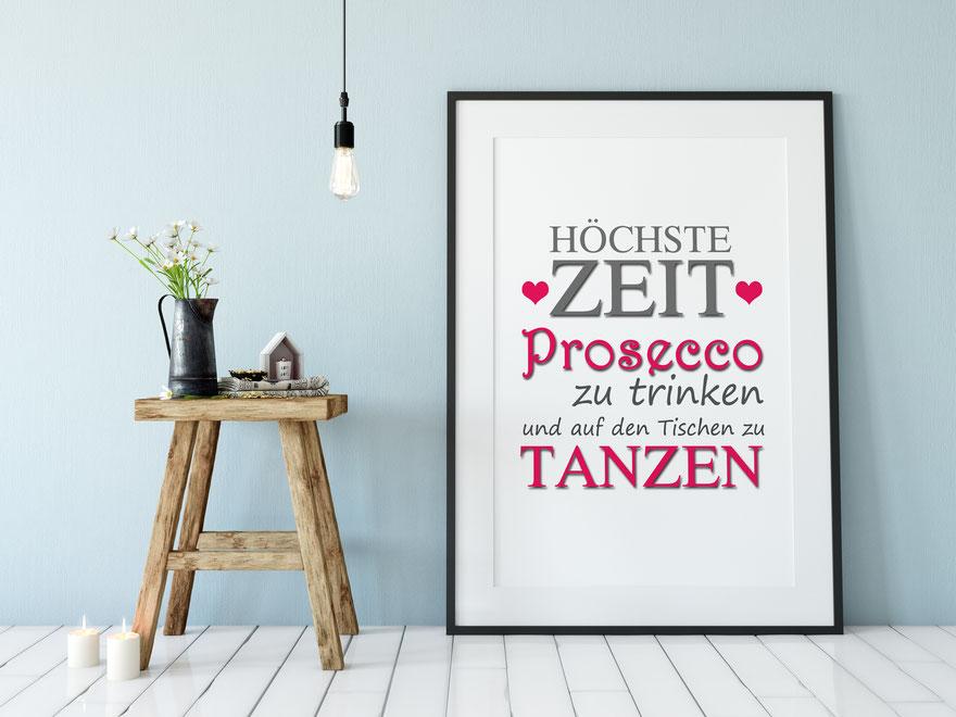 Kunstdruck Prosecco Wohnen & Leben