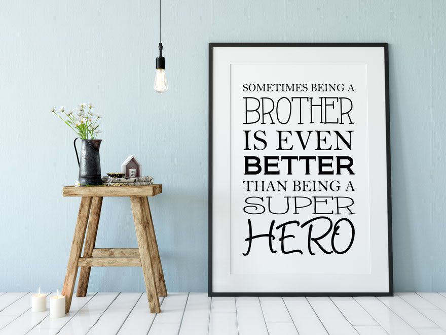 Druck Print Brother Superhero Wohndeko