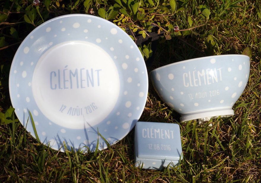 Porcelaine personnalisée pour la naissance d'un garçon