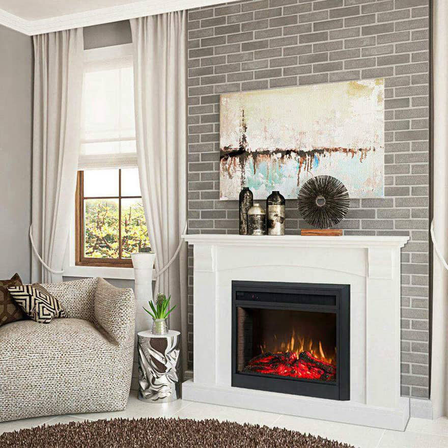 White Home Décor Electric Fireplace