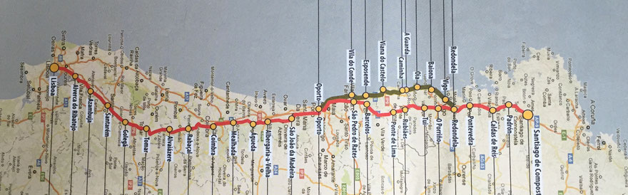 Landkarte von Portugal, camino portuguez, Santiago de Compostela, Lissabon, Porto, oporto, camino France, der Weg nach Santiago de Compostela, mit den Fahrrad, zu Fuß, Oporto, Etappenziele auf den camino, Finsterer, Atlantik, Lisboa, Küstenweg am Atlantik