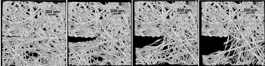 X-ray microtomography imaging of the initiation and growth of a crack in a fiber material (Credit: P. Isaksson)