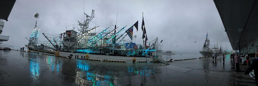 サンマLEDライトアップ!レーダとかアンテナとか装備がカッコいいのがサンマ漁船。