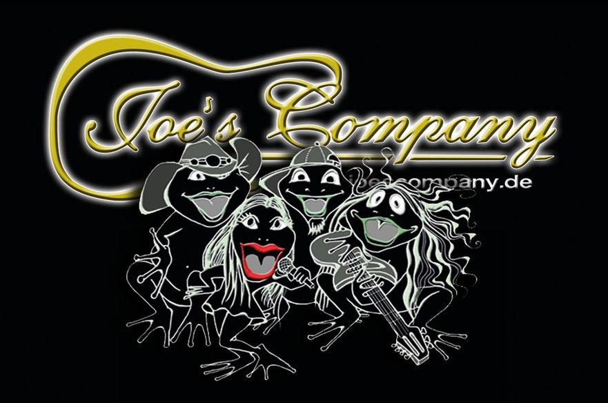 Joe's Company Logo und Frösche der Partyband