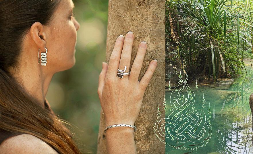Boucles d'oreilles serpent en argent et bague serpent en argent  artisanat ethnique.itsara