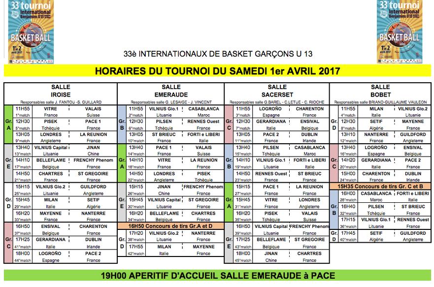 Euro Pacé Basket 2017 - Tournoi Masculin - Programme du samedi