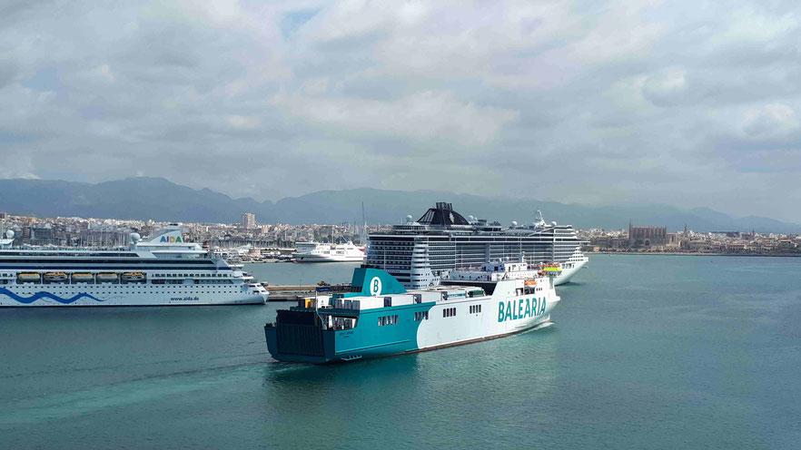 Kreuzfahrtschiffe in Palma de Mallorca - Blick von der Westmole zum Südwest- und Nordwest-Kai