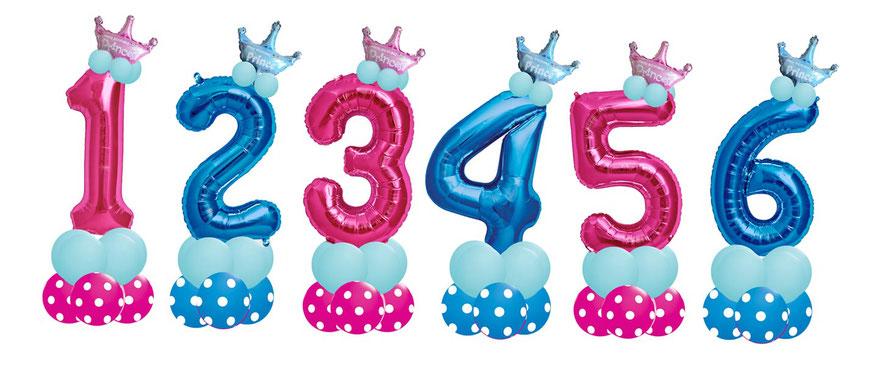 Luftballon Ballon Folienballon Zahl Kindergeburtstag Kinder Mädchen Junge Princess Prinzess Prinzessin  Prinz Prince Krone Tiadem Tiara Kleinkind Party Fete süß Ballonzahl Folienzahl Geburtstag