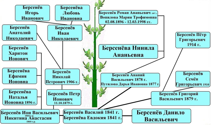 Древо рода Берсенёва Василия 1841 г.р.