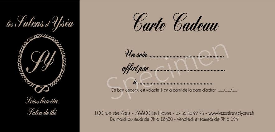carte cadeau les Salons d'Ysea Le Havre - bien-être et salon de thé
