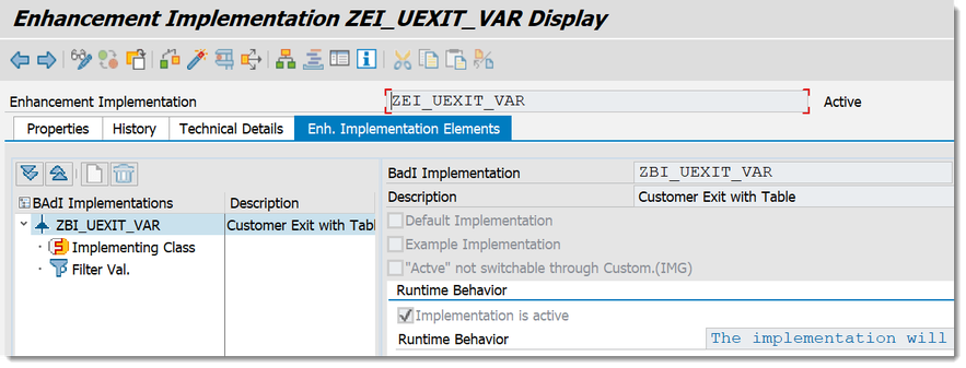 SAP BW/4HANA Enhancement Implementation ZEI_UEXIT_VAR with BAdI Implementation