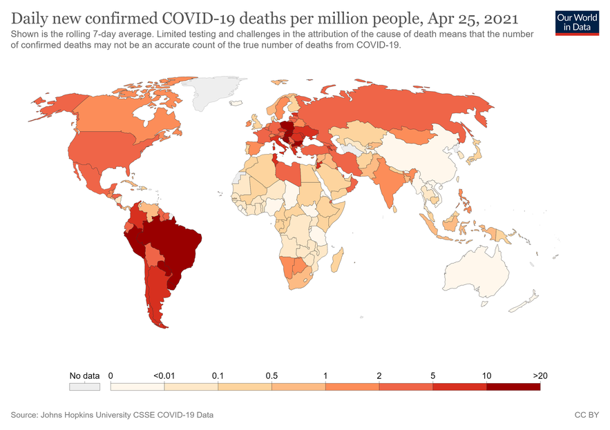 Covid-19 morality rate. As shown on the map, Peru is the most affected in the world, with 1 660 deaths per million inhabitants. (Source: https://ourworldindata.org/covid-deaths).