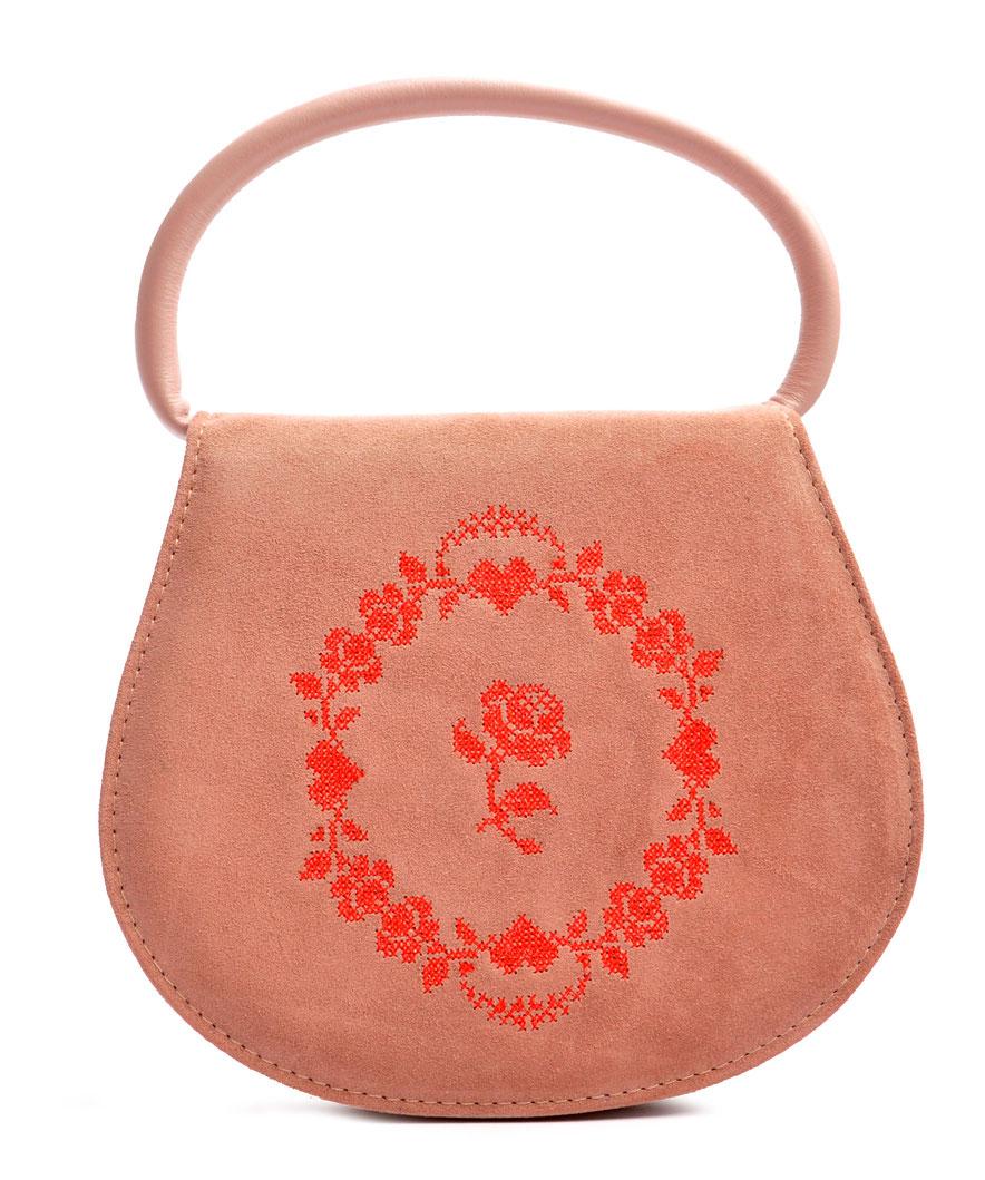 Trachtentasche  rosa Leder . versandkostenfrei OSTWALD Traditional Craft