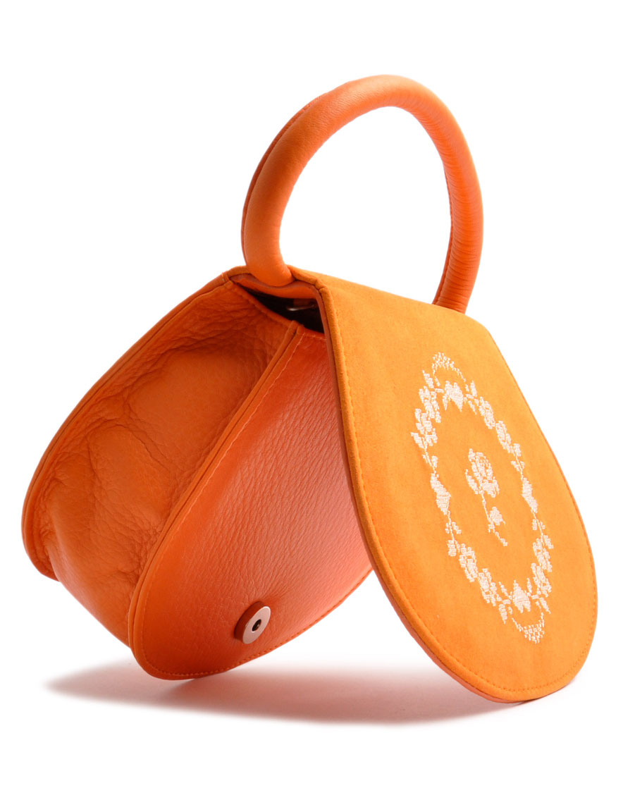 Trachtentasche Leder orange OSTWALD Traditional Craft