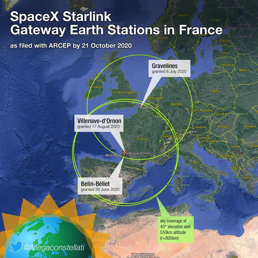 """Potentielle couverture du haut-débit par le réseau """"Starlink"""" en Europe."""