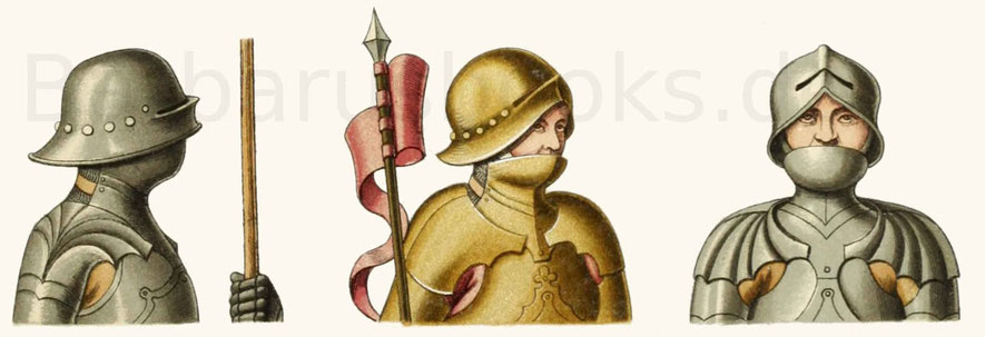 Helm und Halsbedeckung (Barthaube) aus dem 15. Jahrhundert.