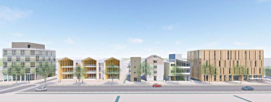 九州経済連合会の木造建築物によろ都市の提案イメージー都市(まち)が森になる