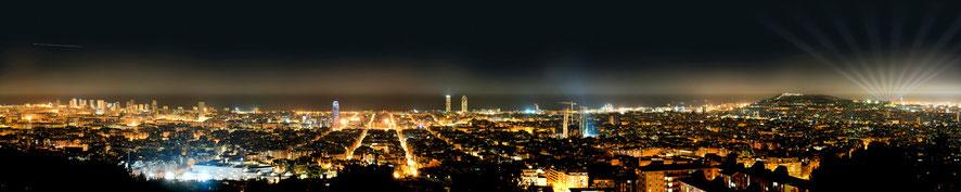 """PROPORCIÓN 1:3 _ Espectacular panorámica de Barcelona de noche """"Gigantografía"""". Foto N_297"""