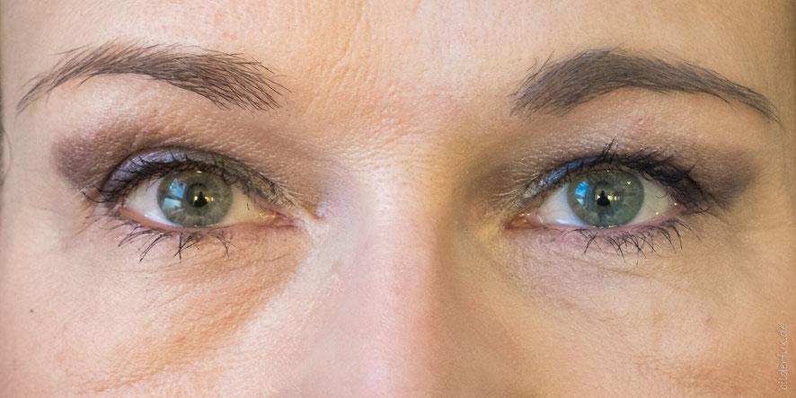 linke Bildseite ohne - rechte Bildseite mit Terra Naturi Augenbrauenstift
