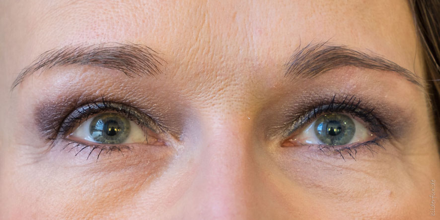 linke Bildseite ohne - rechte Bildseite mit alverde Augenbrauengel