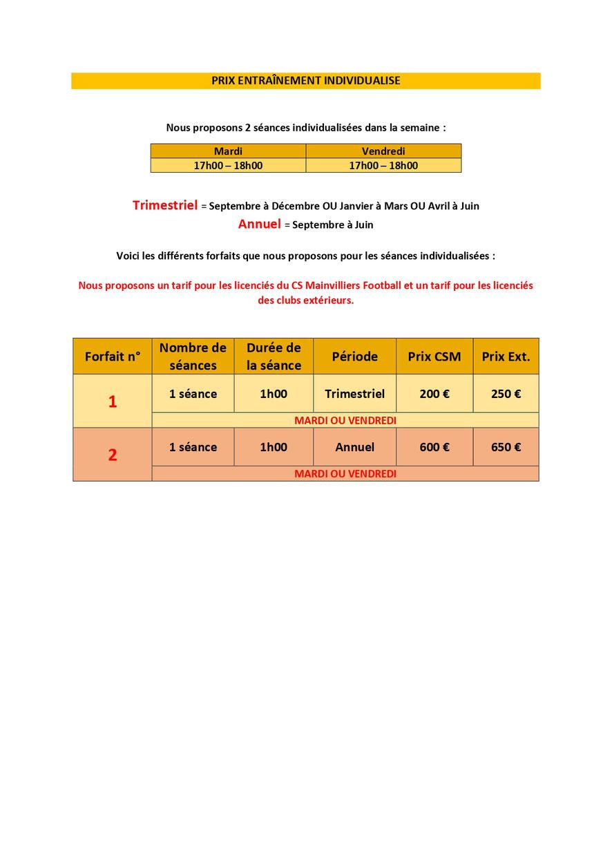 CS Mainvilliers Football Entraînement Individualisé Prix