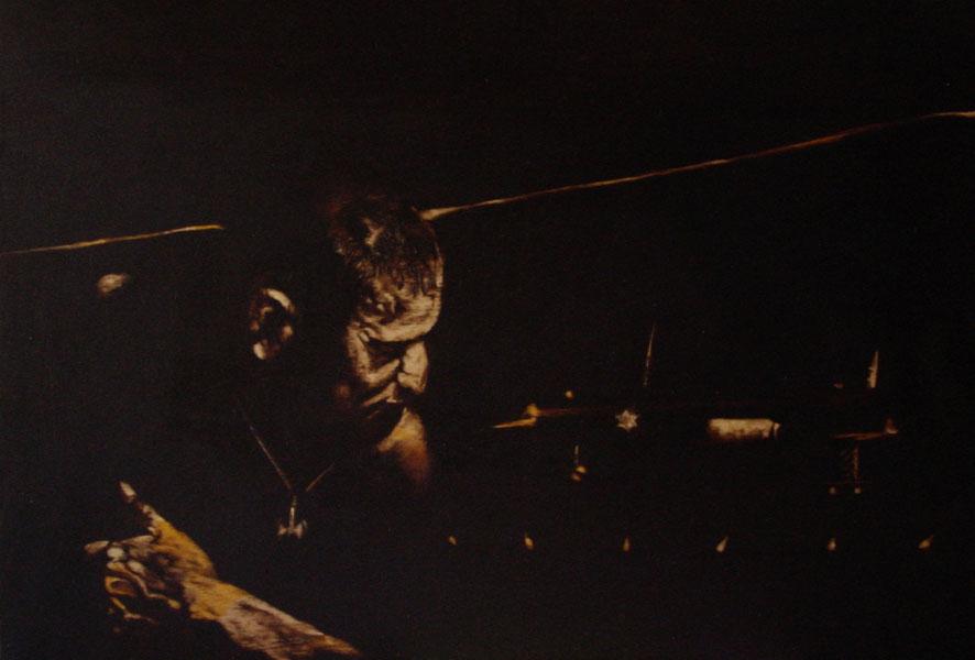 """""""L'ora di niente - il terrorista""""  (2009) olio su legno, cm (27,5 x 39,7)"""