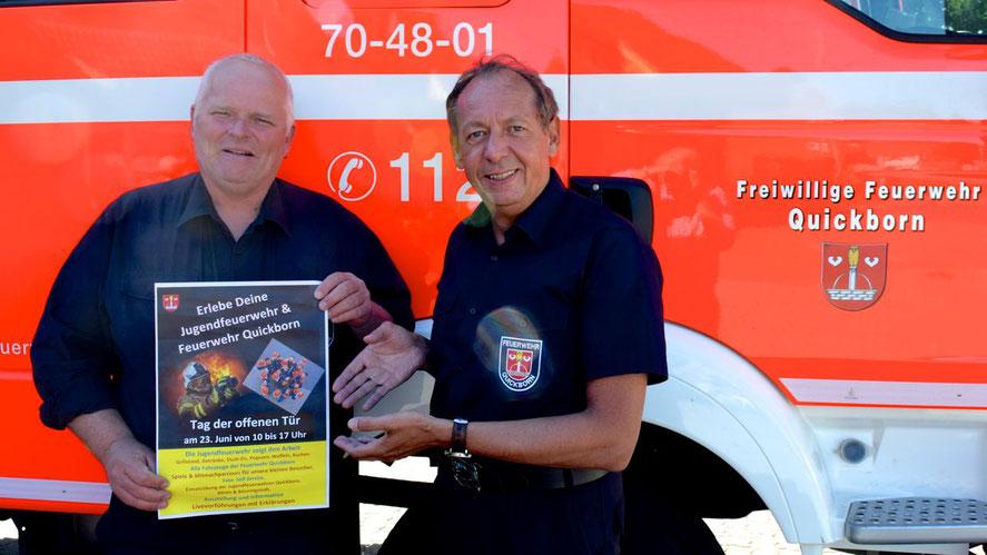 Feuerwehr-Chef Wido Schön und sein Stellvertreter Daniel Dähn (v.r.) stellten die Veranstaltung vor