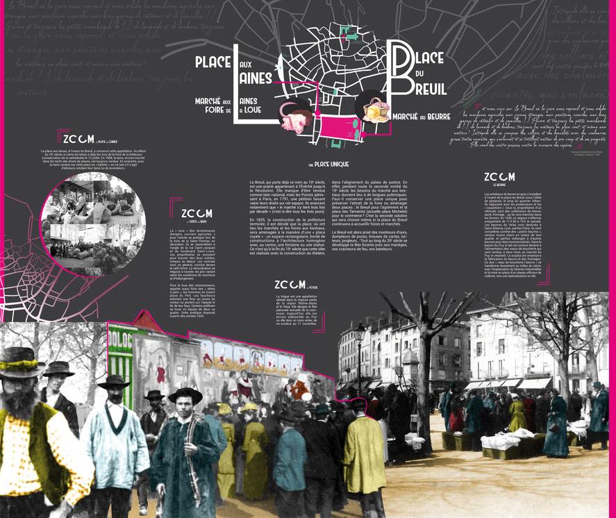 Texte de niveau 2  composition et colorisation d'illustrations et d'images d'archives, 240 cm de haut