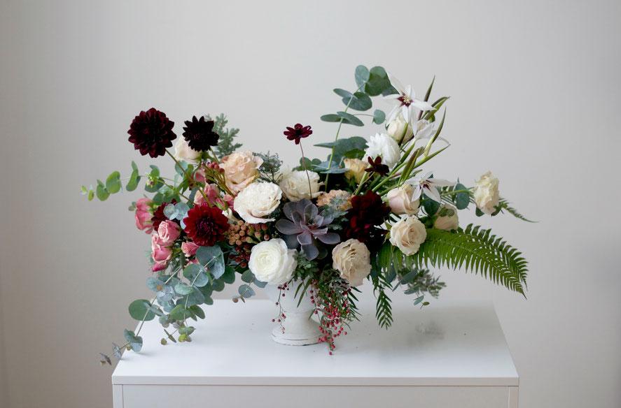 Lush Autumn Wedding Centerpiece with Succulent