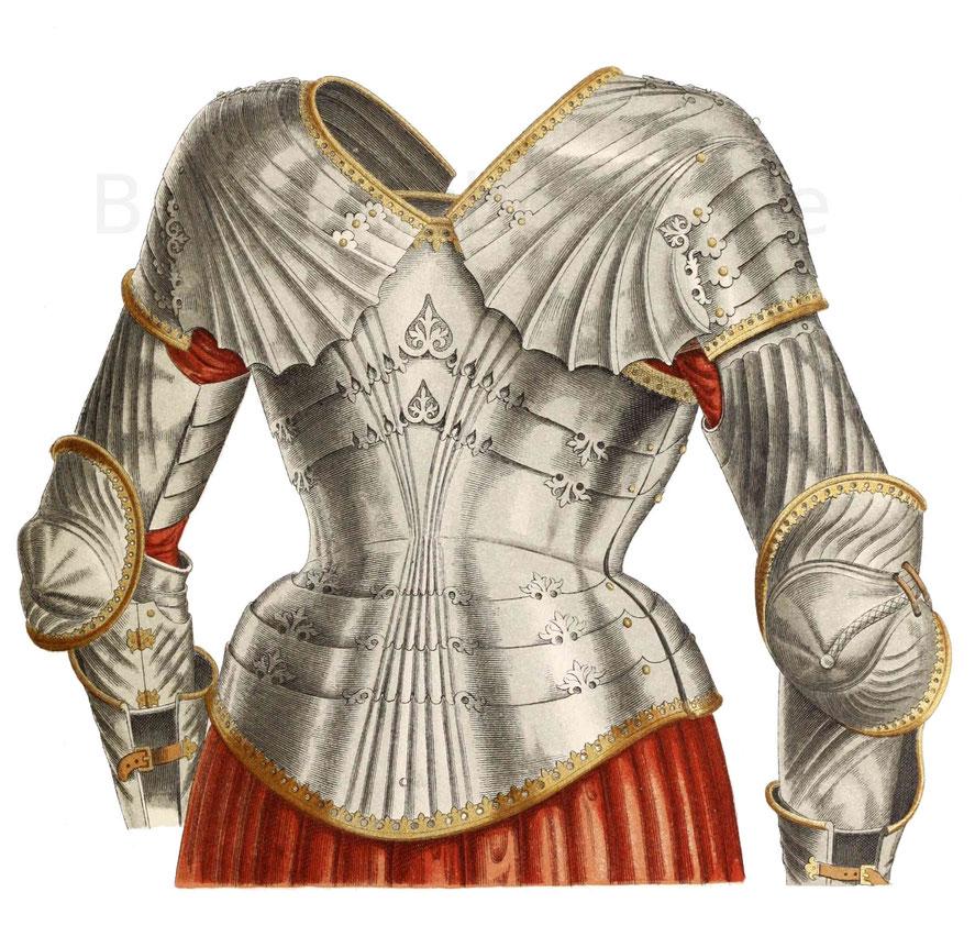 Einzelne Teile eines Harnisches, welcher aus einem Schloss am Rhein stammt.