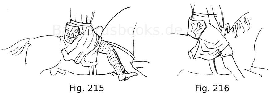 Fig. 215. Aus dem Reitersiegel des Baudoin, Grafen von Guines, von 1235. Nach Demay. Fig. 216. Aus dem Reitersiegel des Louis Grafen von Nevers, von 1315. Nach Demay.