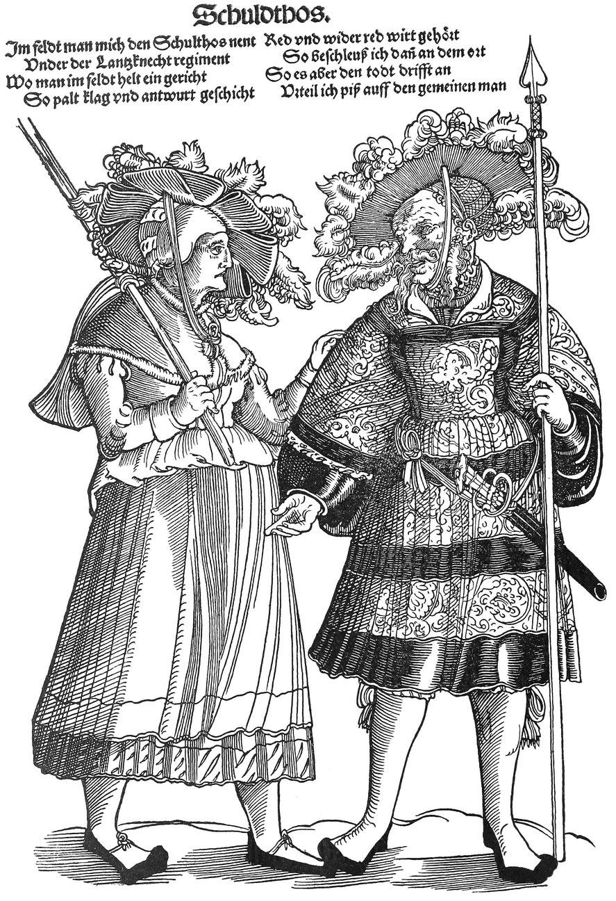 Feldgerichtsschultheiß und eine sich beschwerende Frau ca. 1530. Holzschnitt von Hans Guldenmundt.