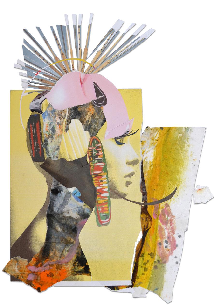 Gesine-Englert-Art-Collage-013.2017-2, Malerei, Kunst, Paper-Work, Art, Painter, Malerin, Modern, Portrait, Porträt, Kopf, Büste, Helm , helmed, Strahlen, Auge, eye, Wimpern, lashes,